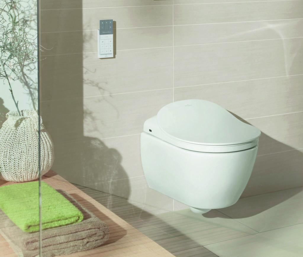 Eine moderne Toilette in einem beliebigen Badezimmer angebracht (Badhygiene).