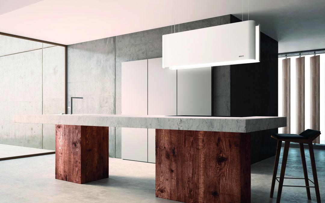 Designobjekt mit Doppelfunktion: Dunstabzugshaube und Leuchte zugleich